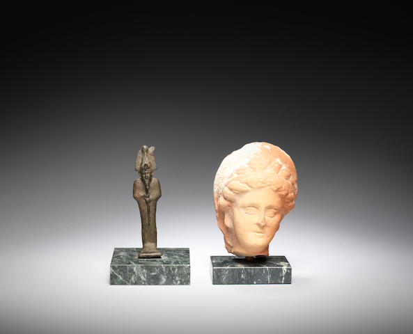 An Egyptian bronze figure of Osiris and a Hellenistic female terracotta head, 2