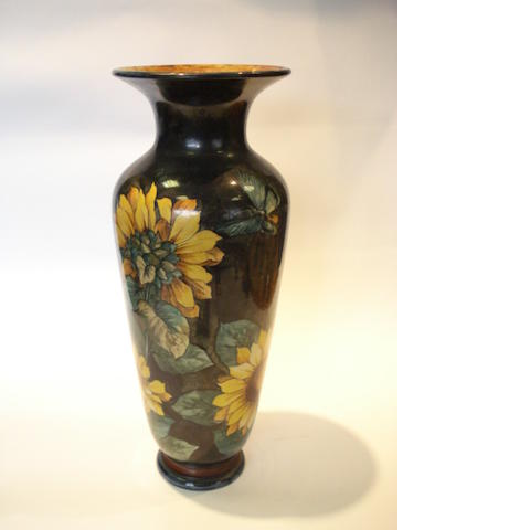 Florence M Linnell for Doulton Lambeth a Faience Vase with Sunflowers, 1878