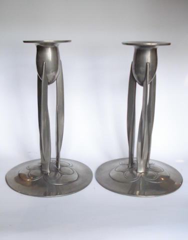Liberty & Co. a Pair of Pewter Candlesticks, circa 1910