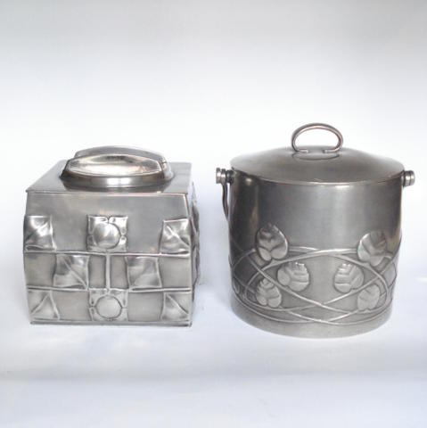 Archibald Knox for Liberty & Co. a 'Tudric' Pewter Tea Caddy and Lid, circa 1910