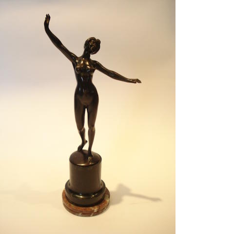 Prof Tuch a Patinated Bronze Model of a Naked Female, circa 1920