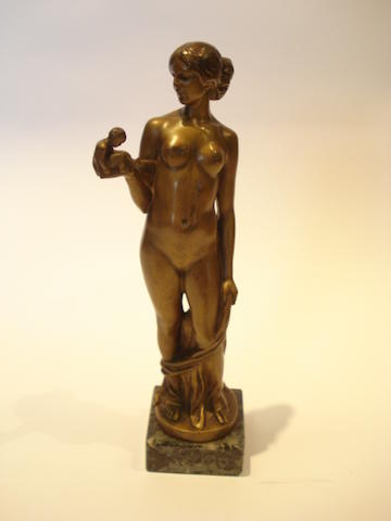 F Winkler A gilt-bronze model of a naked female with infant, circa 1920