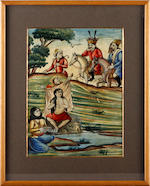 A Moghul picture depicting a bathing scene