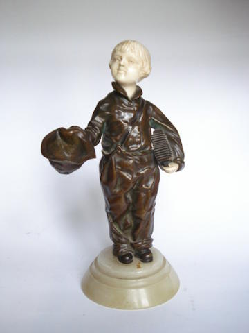 Demetre Chiparus 'Boy Busker' a Bronze and Carved Ivory Figure, circa 1920
