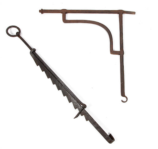 A 19th century iron pot hook