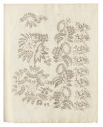 LACE. Pattern book of designs, evidently for lace, comprising floral, nuptial an other motifs, 1830