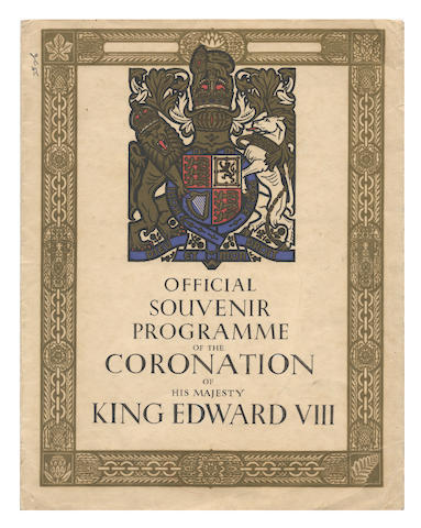 EDWARD VIII CORONATION. Proof cover of the Official Souvenir Programme for the Coronation of His Majesty King Edward VIII, [1936]; with other associated items