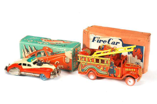 Masudaya tinplate Speed G Men car and Fire car, Japanese Circa 1950