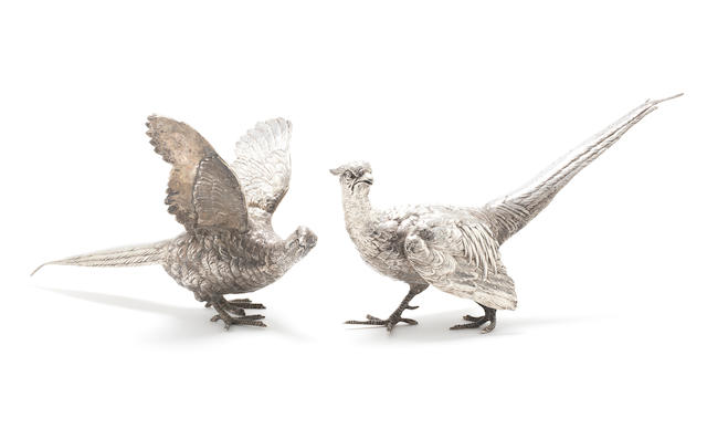GARRARD: A pair of  silver pheasant table ornaments by Garrard & Co Ltd, London 1962  (2)