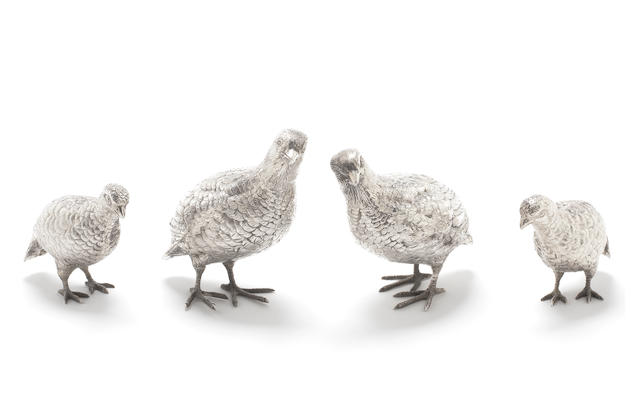 Four silver table ornaments, modelled as partridges by Edward Barnard & Sons, London 1969