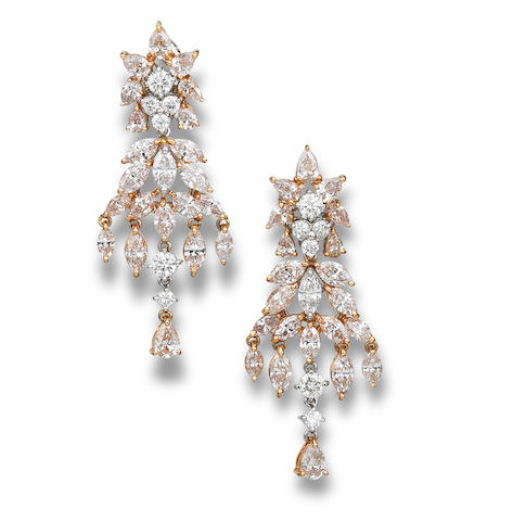 A pair of coloured diamond and diamond pendant earrings