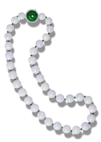 A jadeite bead and diamond necklace