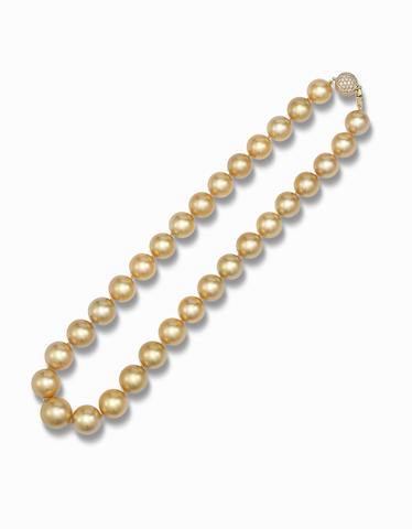 A cultured pearl and diamond necklace