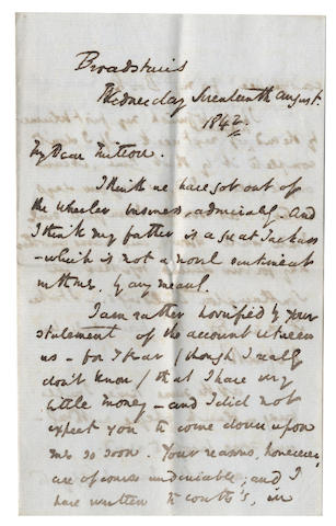 "DICKENS (CHARLES) Autograph letter signed (""CD""), to his solicitor and close friend, Thomas Mitton, lambasting his father, 1842"