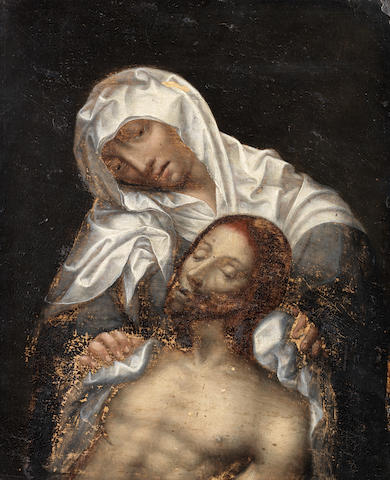 Manner of Gerard David, 17th Century Pietà unframed
