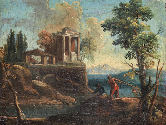 French School, 18th Century Figures fishing by ancient ruins unframed