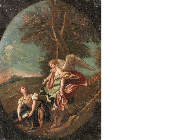 Roman School, 18th Century Tobias and the angel, within a painted oval unframed