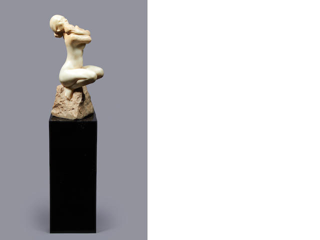 Enzo Plazzotta (Italian, 1921-1981) Marble bust of a naked woman on an ebonised plinth