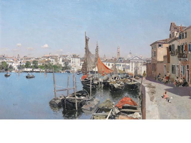 Martin Rico y Ortega (Spanish, 1833-1908) A Venetian waterfront