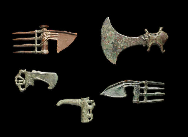 Five Luristan bronze axe heads 5