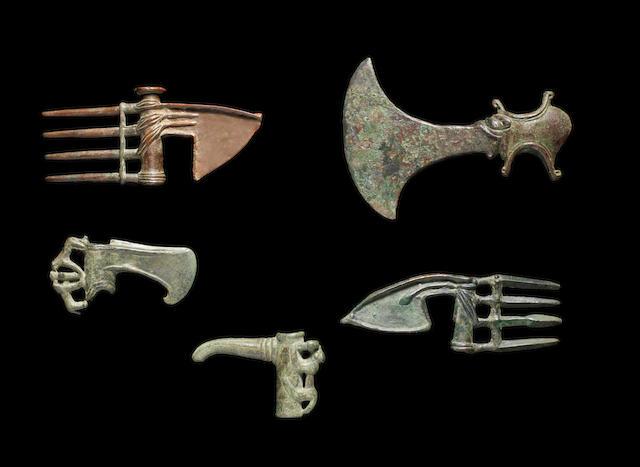 Five Luristan bronze axe heads 5