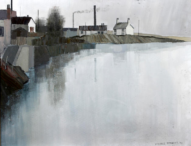 Terence Bennett (British, born 1935) 'Banks of the Humber, 73', Chimneys and Farm House