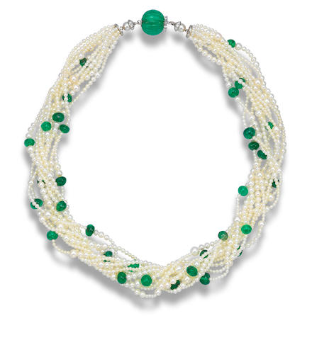 A natural pearl, emerald and diamond torsade necklace