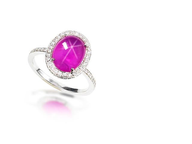 A star ruby and diamond ring