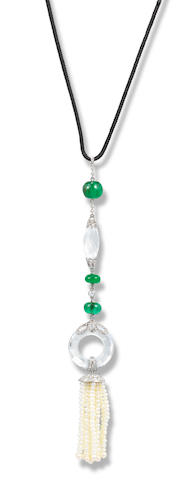 An emerald and rock crystal and seed pearl pendant necklace