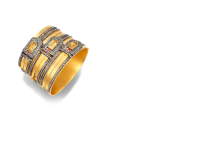 A citrine, diamond and ruby gold cuff