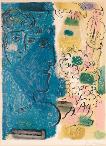 Marc Chagall (Russian/French, 1887-1985) Exhibition Poster Lithograph printed in colours, 1967, on Arches, signed and numbered 30/150 in pencil, published by Maeght, Paris, for an exhibition at the Maeght Foundation, 640 x 480mm (25 1/4 x 18 7/8in)(I)
