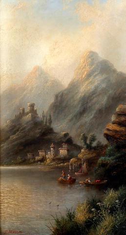 E. Masters (British) Italian lake scenes, a pair