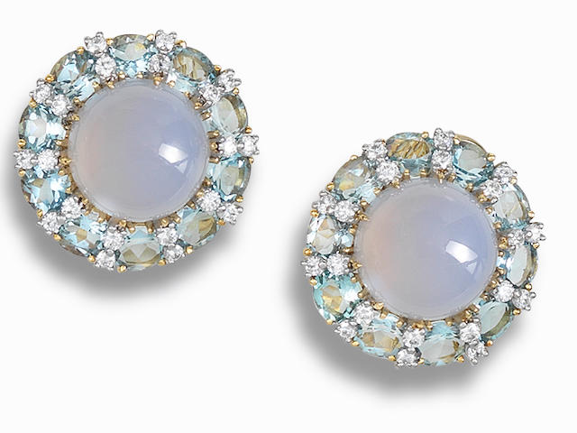 A pair of chalcedony, aquamarine and diamond ear clips