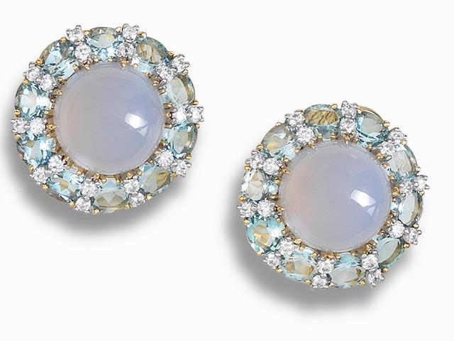 A pair of chalcedony, aquamarine and diamond ear clips