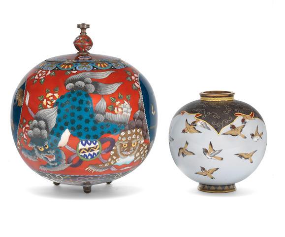 Two cloisonne enamel vases Meiji Period