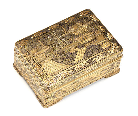 An inlaid iron rectangular miniature box and cover Attributed to the Komai Company of Kyoto, Meiji Period