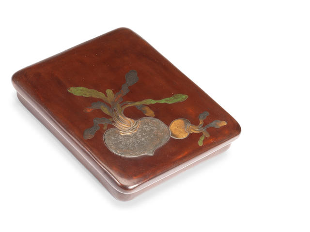 A lacquered-wood rectangular suzuribako (writing box) and cover 20th century