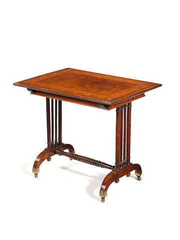 a Regency pollard oak and marquetry library table attributable to George Bullock
