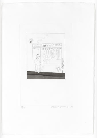 David Hockney R.A. (British, born 1937) To Remain, from Illustrations from Fourteen Poems for C.P. Cavafy Etching and aquatint, 1966, on Crisbrook handmade paper, signed, dated and numbered 74/75 in pencil, printed at Alecto Studios, published by Editions Alecto, 360 x 220mm (14 1/8 x 9in)(PL)