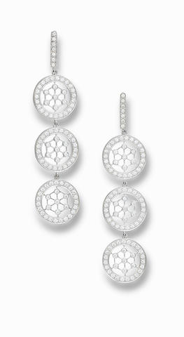 A pair of diamond pendant earrings, by Tiffany & Co.