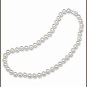 A cultured pearl and diamond necklace, by Tiffany & Co.