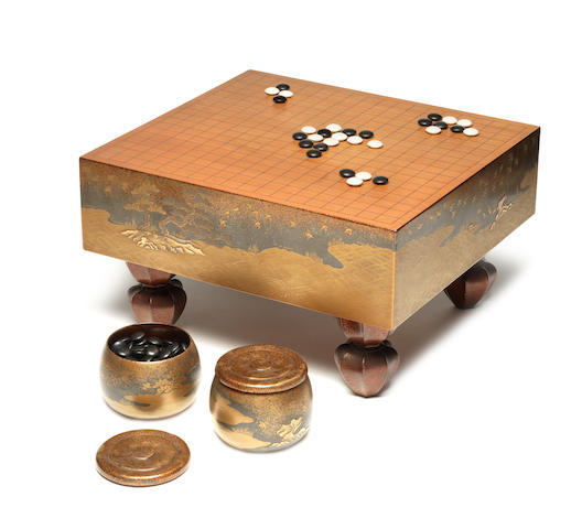 A traditional lacquered-wood go-ban (games board) set Edo Period, 18th century