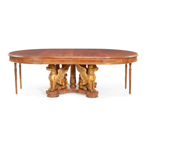 A Baltic late 19th/early 20th century mahogany and parcel gilt circular extending dining tablein the Empire style