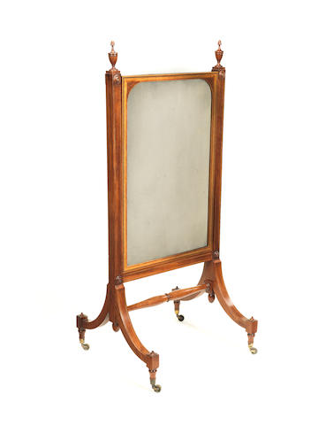 A George III mahogany, sycamore, satinwood and burr yew inlaid cheval dressing mirror