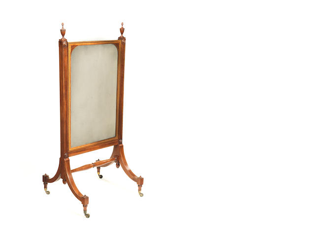 A George III mahogany and inlaid small cheval glass