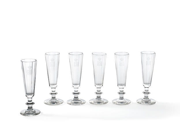 Six faceted glass flutes ( service for Alexandra Iosifovna)