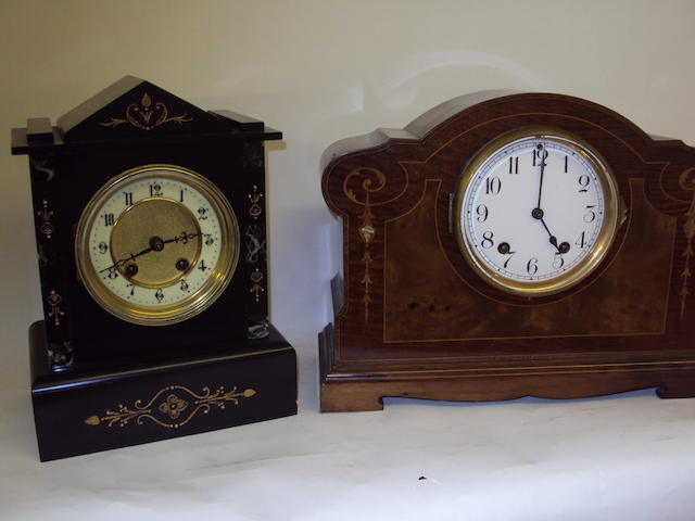 A Victorian mahogany inlaid mantel clock, and a 19th century French inlaid marble mantel clock