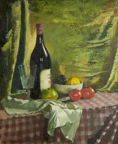 Doris Clare Zinkeisen (British, 1898-1991) Still life on a checked tablecloth