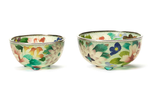 Two small plique-à-jour bowls Meiji/Taisho Period