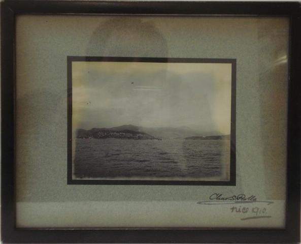 A framed photograph of Charles Stewart Rolls' first flight over water at the Nice Aviation Meeting 1910,